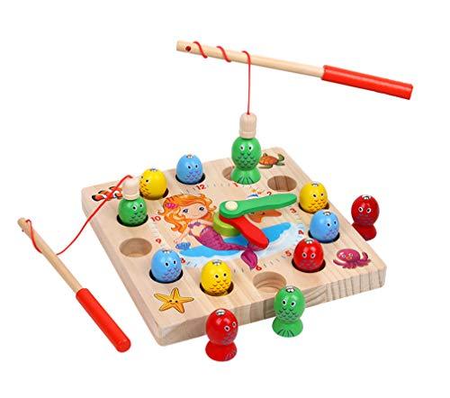 Yx-outdoor Montessori juego de pesca infantil, concepto de tiempo para niños y desarrollo de habilidades sociales, de madera magnética reloj de sirena juguete de pesca