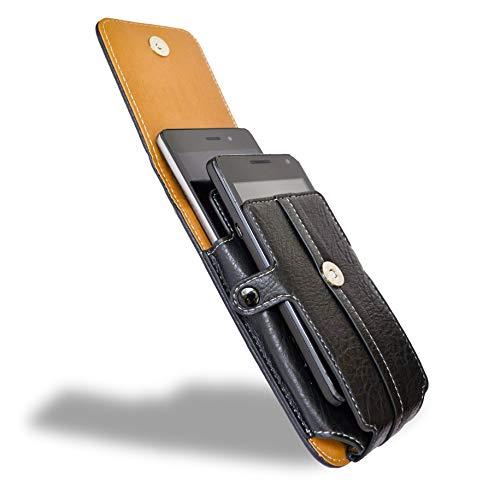 axelens Handy Tasche Universal Handy Hülle für Gürtel - Zwei Handys (von 4,8 bis 5,2'' Zoll) aus Kunstleder mit Gürtelschlaufe, Karabiner & Dokumentenhalter Karten Clip Verschluss – L SCHWARZ