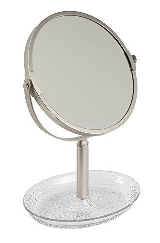 iDesign 53955EU InterDesign Rain, Miroir de Maquillage pour Meuble de Salle de Bain-Transparent/Perle Satin, Plastique, Clair, 13,97 x 19,05 x 27,94 cm