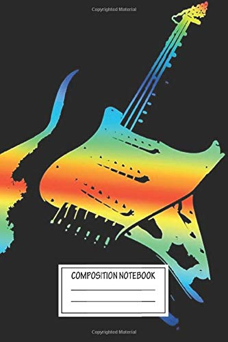 Notebook: Electric Guitar #4 Rainbow Stratocaster Wide Ruled , Journal for Writing, Size 6
