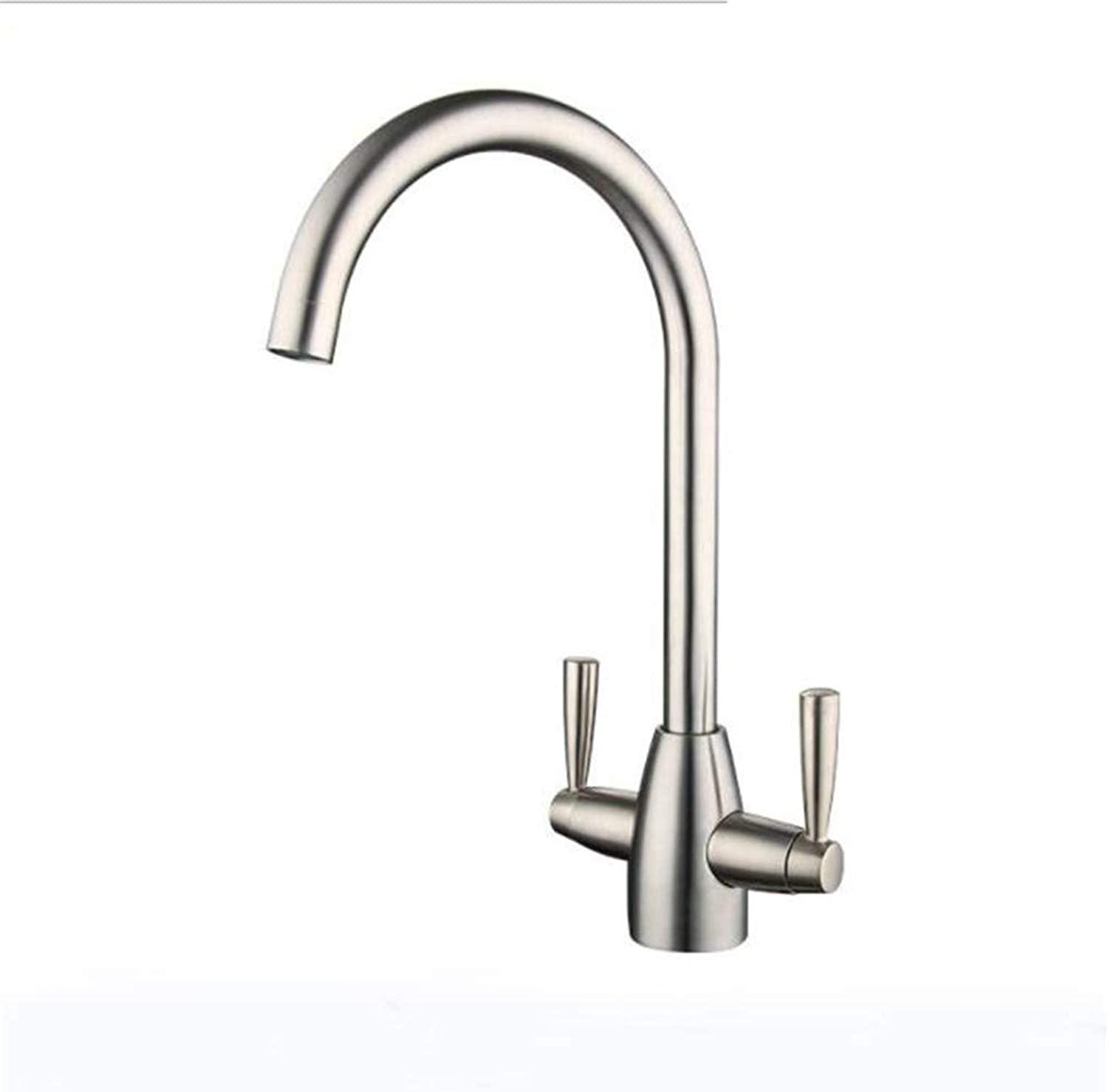 Bathroom Sink Basin Lever Mixer Tap 304 Stainless Steel Faucet Kitchen Sink Double Cold and Hot Water Stainless Steel Dishwasher Faucet