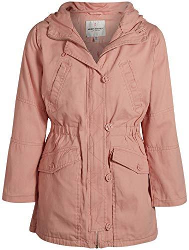 Urban Republic Girls Cotton Twill Anorak Jacket with Hood, Light Rose, Size 14/16