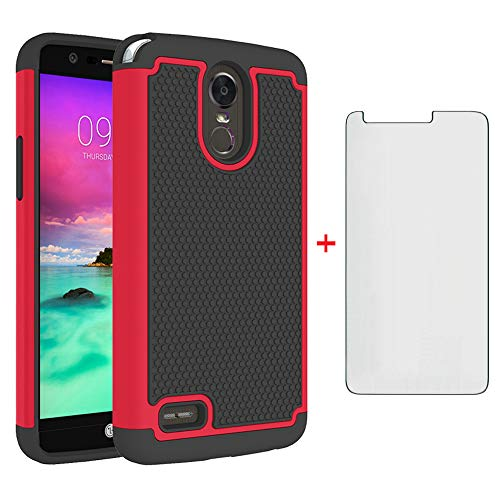 Phone Case for LG Stylo 3 and Stylo3 Plus with Tempered Glass Screen Protector Cover Cell Accessories Slim Rugged Hybrid Full Body Heavy Duty LGstylo3 3+ Stylus 3 3Plus LS777 LGL84VL L84VL Cases Black