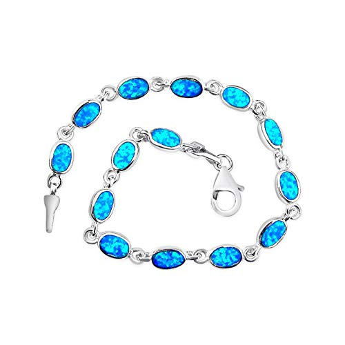 Ashton and Finch Sterling Silver Blue Opal Oval Bracelet | Free Presentation Box | For Birthdays, Weddings And Special Occasions For Men & Women