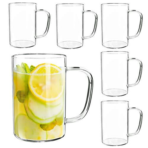 Giftgarden Tazas de Cafe de Vidrio con Asa, 500ml, Juego de 6, Vasos de Cristal Transparente para Bebida Fria y Caliente, como Leche, Te, Cerveza y Agua