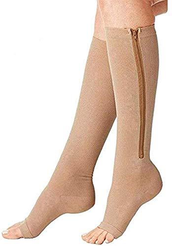 3 steunen, compressie sokken met ritssluiting, medical compressie sokken, open toe, elastische beenafsluiting, unisex sokken