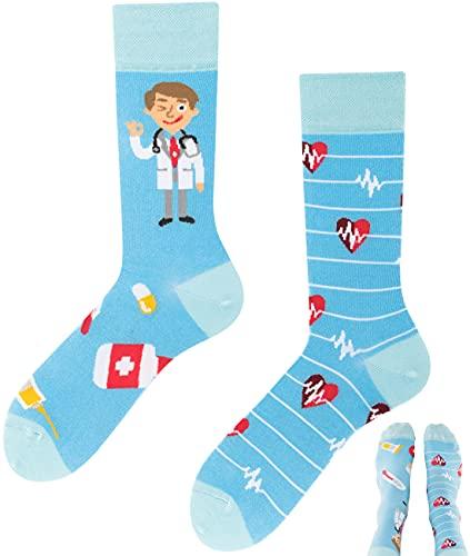 TODO Colours Lustige Socken mit Motiv - mehrfarbige, bunte, Verrückte für Herren & Damen (35-38, …and Doctor)