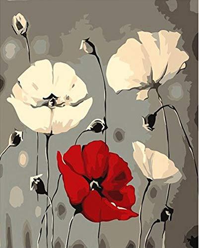 YEESAM ART Neuheiten Malen nach Zahlen Erwachsene Kinder, rot und Weiß Mohnblumen Blumen 40x50 cm Leinen Segeltuch, DIY ölgemälde Weihnachten Geschenke
