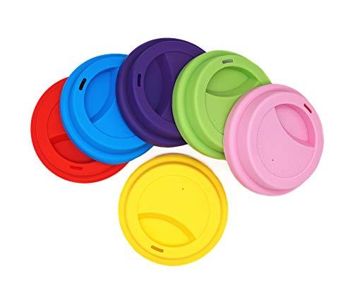 Getränkedeckel aus Silikon, auslaufsicherer Deckel für Getränkebecher, wiederverwendbar, Deckel für Kaffeebecher, 6 Stück Assorted 2