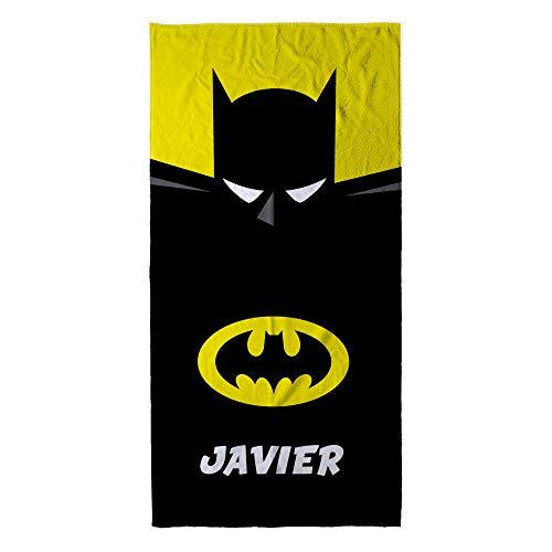 Toalla Batman Personalizada material: Algodón Tamaños Toalla Batman : 30x50 cm / 50x100 cm / 70x140 cm / 80x160cm. Composición 30% microfibra / 70% algodón, tejido de 400gr/m². Cara trasera de rizo de algodón con mayor absorción para facilitar el sec...