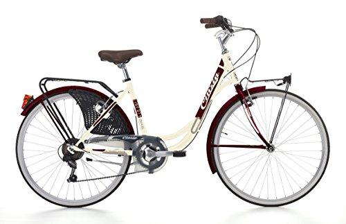Cicli Cinzia Bicicletta 26' Citybike Liberty Donna 6/V Revo Shift V-Brake Alluminio, Fanali a Pila Crema/Amaranto