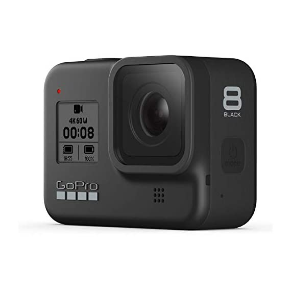 Gopro hero8 black, waterproof digital sports and action camera with touch screen 4k uhd video 12mp photos, power bundle… 8 kit includes: gopro hero 8 black camera (chdhx-801) | rechargeable battery (1220mah) | curved adhesive mount | mounting buckle | usb-c cable | thumb screw| gopro dual battery charger (gpajdbd001) | 3x gopro rechargeable battery (gpajbat001) | sandisk 128gb extreme uhs-i class 10 v30 u3 microsdxc memory card, sd adapter | prooptic complete optics care and cleaning kit key features: 4k60 video + 12mp photos | hypersmooth 2. 0 video stabilization | timewarp 2. 0 time-lapse video | night time-lapse video | 1080p live streaming | superphoto + improved hdr | foldable mount fingers | liveburst image capture | digital lenses (superview, wide, linear, narrow) | rugged + waterproof 33ft (10m) | 8x slo-mo video | 2-inch intuitive touch screen | face, smile + scene detection | 3 built-in mics with reduced wind noise | usb-c charging | wi-fi + bluetooth enabled warranty: gopro authorized reseller. Includes a limited gopro 1 year usa warranty.