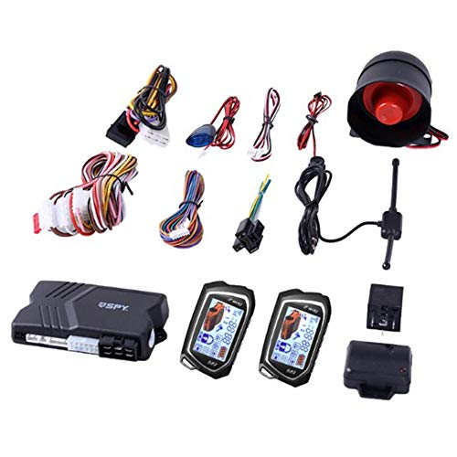 SHOH 2-Wege-Autoalarmanlage Mit Fernstart-Anlassersensor Bunter LCD-Pager-Display-Schocksensor, Alarmanlage Diebstahlsicherungssystem Mit Doppelter Fernbedienung, DC12V