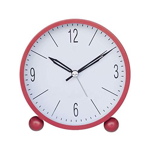 WYZQ Reloj de Escritorio Reloj Despertador Redondo Funciona con Pilas Ultra silencioso con retroiluminación Dormitorio Minimalista Escritorio Digital Mini Reloj Despertador portátil Reloj de esc
