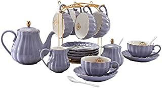 YoungQI Porcelain Tea Coffee Sets with Teapot Sugar Bowl Cream Pitcher Teaspoons and tea strainer for Tea/Coffee, Cups& Saucer Service for 6(Purple)