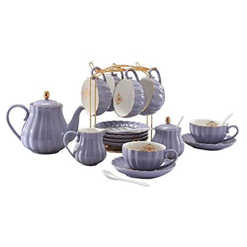 Lieras - Servizio da tè in porcellana, serie British Royal, per 6 persone, tazze da 236,5 ml con piattini, include zuccheriera, teiera, lattiera, cucchiaini e colino da tè, per tè/caffè Purple