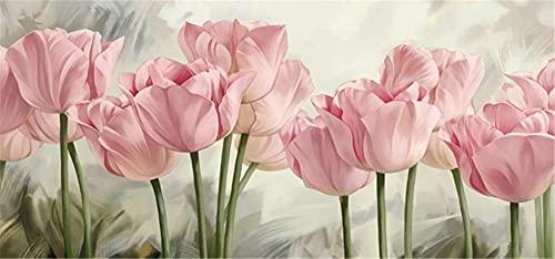 Pintura De Diamante Para Adultos 5D DIY Flower Rose Pintura Diamantes Gran Tamaño,Todos Los Bordado Slienzo Hechos Mano,Artesanías Cristal,Decoración Puntocruz,Pared Entrada Casa 50x150cm