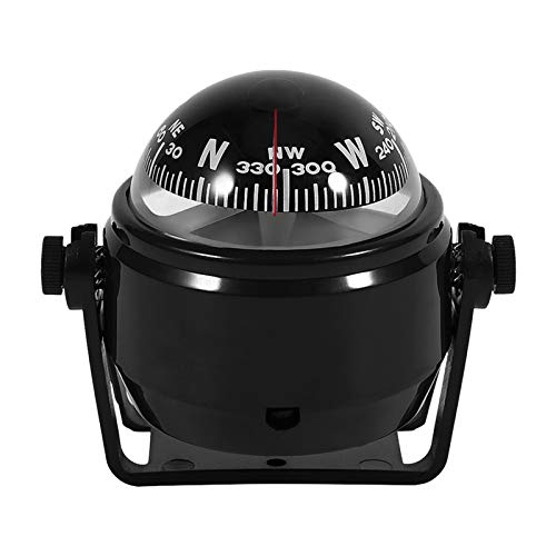 Yosoo Health Gear Marine Compass, Voyager Bracket Mount Compass, Car Compass Dashboard to Indicate The Direction Accurately, Compass Dash Mount Fits for Car Watercraft Boat Caravan (Black)