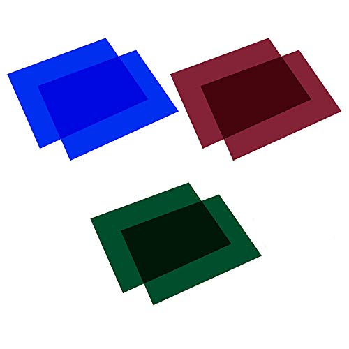 Selens 40x50cm Farbfolien Farbfilter 6 Stück Transparente Farbkorrektur Beleuchtungs Blitz Folien Farbfolie für 800W Rot Licht Stroboskop Taschenlampe Flash Fotostudio Fotografie Grün&Rot&Blau