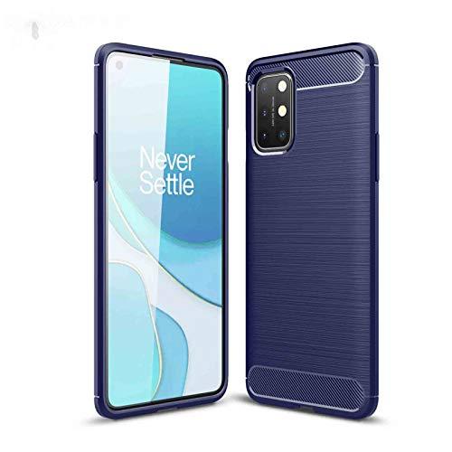 LEYAN Funda para OnePlus 9 Pro, TPU Silicona Fibra de Carbono Protección Carcasa, Bumper Caso Case Cover con Shock- Absorción, Azul