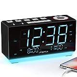 Radio Alarm Clock Bedside Alarm Clock Dual Alarm,FM Radio Clock,Auto Brightness,Dimmer Control, Snooze, Sleep Timer,USB Charging,Auxiliary Input,Night Light(iTOMA CKS508)