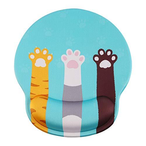 マウスパッドリストレスト一体型 猫の肉球 手首クッション 手腕サポート腕置き シリカゲル充填 低反発 人間...