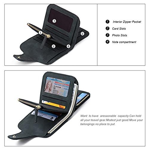 Women's PU Tri-fold Women Fashion Card Coin Holder Ladies Small Purse Clutch Wallet (Black)