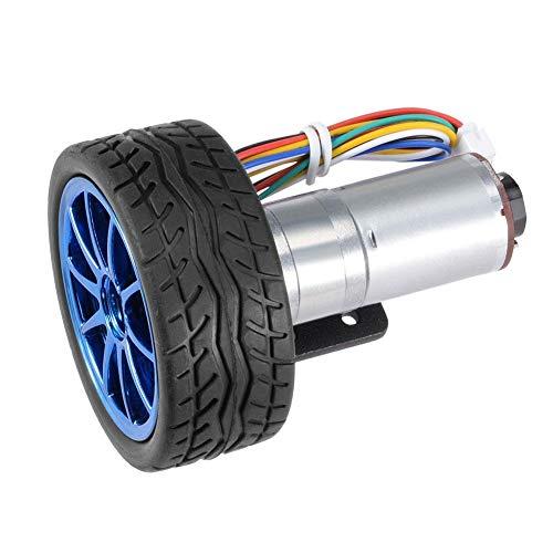 DC 12 V DIY Encoder Getriebemotor mit Halterung 65mm Magnetgetriebe Motor Rad Kit Micro Drehzahlreduzierung Motor Vollmetallgetriebe für Smart Auto Roboter Modell DIY(100RPM)