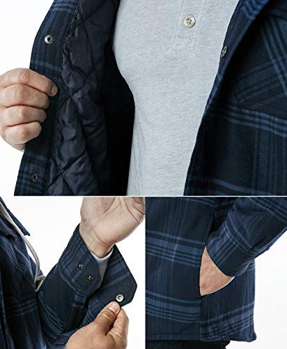 CQR Men's Hooded Quilted Lined Long Sleeve Shirt Jacket, Quilted Lined (HOK720) - Deep Navy & Blue, XL