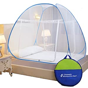 Classic Mosquito Net, Polyester, Foldable for Double Bed, Strong 30GSM, PVC Coated Steel – King Size, Blue