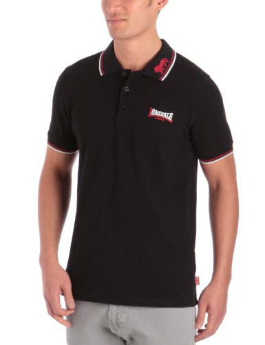 Lonsdale Herren kurzarm Polohemd Lion Lion schwarz (black / dark red / white) Large