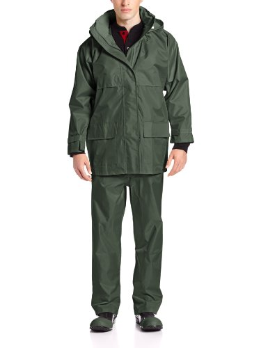 Viking Open Road 150 Denier Trilobal Rip-Stop Waterproof and Windproof Industrial 3-Piece Suit, Forest Green, Medium
