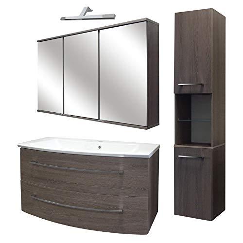 FACKELMANN bruine badkamermeubelset 5-TLG. Rondo met wastafel onderkast hangend gegoten marmeren bekken 100 cm & LED spiegelkast