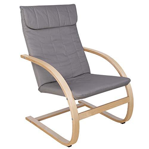 HOMECHO Schaukelstuhl Schwingsessel Sessel Ruhesessel Freischwinger Stuhl 100% Baumwolle Skandinavische Mode Grau Birkenholz Belastbarkeit 120 kg