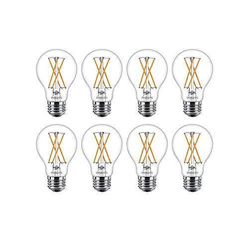 Philips LED Classic Glass Dimmable A19 Light Bulb: 800-Lumen, 2700-Kelvin, 8 Watt, E26 Base, Warm Glow, 8-Pack