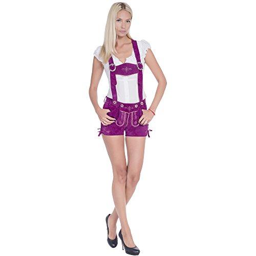 Gaudi-Leathers Damen 2355 Trachten Lederhose, Violett (Lila 075), W35 (Herstellergröße: 40)