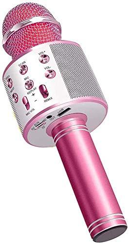 EEM Micrófono inalámbrico Karaok, 4 en 1 máquina portátil de Karaoke con Altavoz portátil Bluetooth, Reproductor KTV doméstico con función de grabación (Pink)