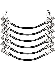 """Donner Cable de guitarra, 6 pulgadas sin ruido, cable de pedal de guitarra en ángulo recto de 1/4 """", junta de metal, cable de instrumento para guitarra eléctrica / bajo / mezclador / audio profesional / micrófono / batería, 6 paquetes, negro"""