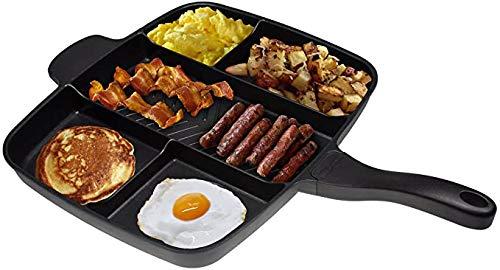 All in One Frituren Pansteak Special Pan / 5 in 1 Multi Sectie Grill/Ontbijt Skillet Met Anti-Aanbaklaag En Soft Touch Handvat Zwart - 38Cm