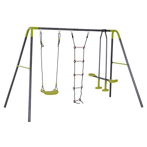 HOMCOM Kinderschaukel Gartenschaukel Schaukelgerüst Schaukelset mit Metallgestell Kletterseilleiter Wippe 3-10 Jahre bis 3 Kinder