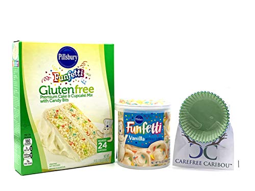 Pillsbury Funfetti Gluten Free Cupcake Mix Bundle (3 items) - Funfetti Gluten Free Cake Mix, Funfetti Gluten Free Vanilla Frosting with Candy Sprinkles & 25 Carefree Caribou Paper Cupcake Liners