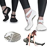 YOGIC Yoga Socks for Women, Non-Slip Slipper Socks with Grippers & Straps for Pilates, Pure Barre, Ballet, Trampoline, Dance, & Barefoot Workout, Non-Skid Cover Toes Grip Socks (2 Pairs Beige- Black)