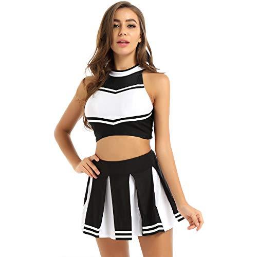 FEESHOW Uniforme de Pom-Pom Girl Femme Robe de Danse Cheerleading Gymnastique Mini Débardeur Court Gilet sans Manche Mini Jupe Plisée Ensemble Tenue High School Noir S