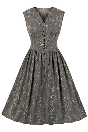 AXOE Damen 50er Jahre Kleid Rockabilly Vintage A Linie Grau, F05, Gr.38, M