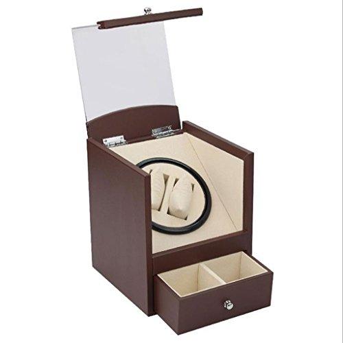 Cajas Giratorias Watch Winder Caja de visualización giratoria automática del Reloj de la luz de Brown/Caja de Reloj automática