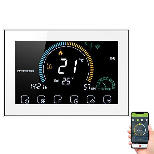 Decdeal Termostato WiFi per Caldaia a Gas - Controllo App Vocale/LCD Retroilluminato Visualizzazione dell'umidità e UV,Termostato Programmabile Compatibile con Alexa Google Home