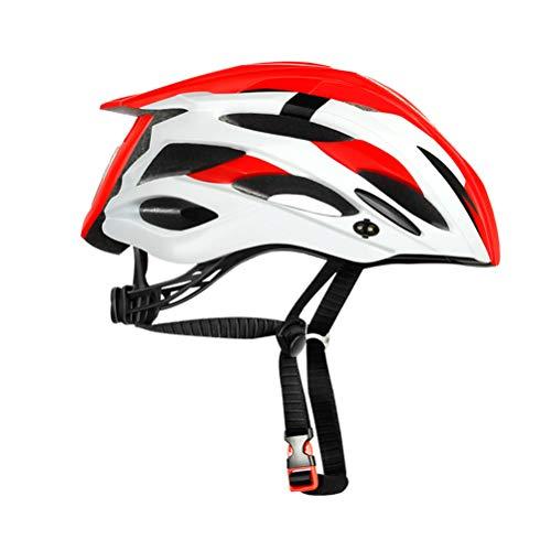 Creamon MTB Bicicleta de Ciclismo Casco de Ciclismo Deportivo, Casco de Bicicleta de montaña de Seguridad Casco de protección para Montar al Aire Libre Rojo y Blanco