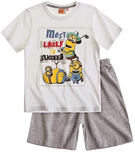 Die Minions 111756- Ich einfach unverbesserlich - Shorty Pyjama, Gr.116 , weißes T-Shirt + grauer kurzer Hose