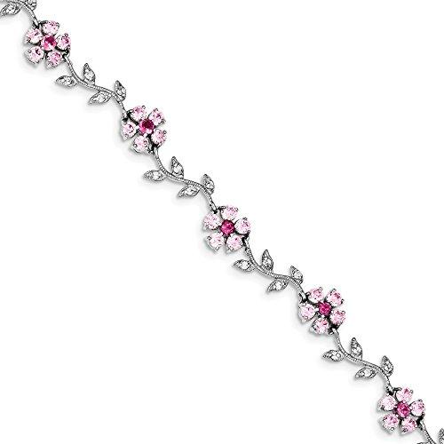 Pulsera de plata de ley 925 pulida rosa y transparente, circonita cúbica de imitación de diamantes de imitación, 17.75 cm, anillo de resorte, joyería para mujeres