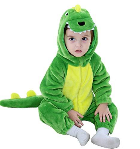 Doladola Baby-Mädchen-Flanell-Tierdinosaurier-mit Kapuze Spielanzug (Grüner Dinosaurier, Größe 100 Alter 18-24 Monate)